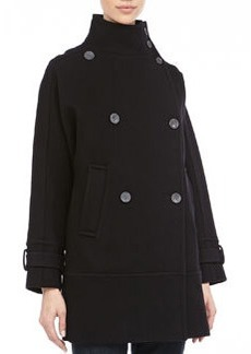 Andrew Marc Tori Double-Breasted Peacoat, Black