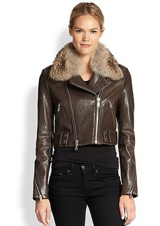 Andrew Marc x Richard Chai Beth Fur-Collar Moto Jacket