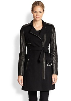 Andrew Marc x Richard Chai Lacey Leather & Wool Trench