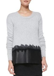 Andrew Marc x Richard Chai Leather-Hem Wool/Cashmere Sweater