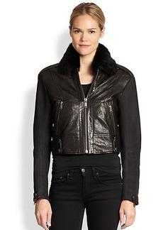 Andrew Marc x Richard Chai Natasha Fur-Collar Moto Jacket