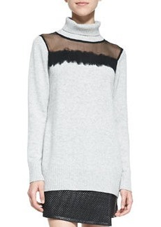 Andrew Marc x Richard Chai Sheer-Top Knit Turtleneck Sweater