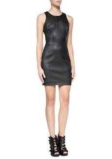 Andrew Marc x Richard Chai Stretch Leather Sleeveless Sheath Dress