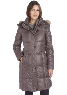 Marc New York anthracite lacquer quilted 'Alana' fur trim hooded down coat