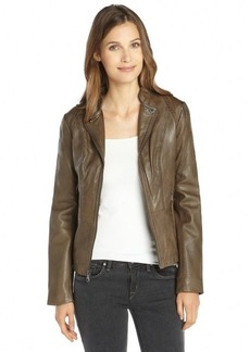 Marc New York anthracite leather zip front 'Molly' jacket