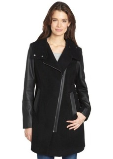 Marc New York black 'Adele' wool and faux leather trim three quarter jacket