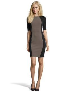 Marc New York black and brown stretch 'Pique Ponte' short sleeve dress