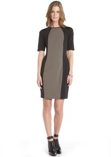 Marc New York black and brown stretch 'Pique Ponte' short sleeve dress