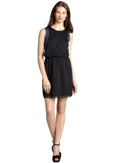 Marc New York black and cornflower georgette two-tone blouson dress