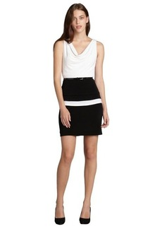 Marc New York black and white colorblocked belted layered dress