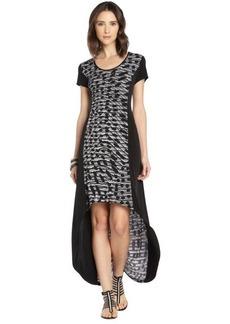 Marc New York black and white stretch dot swirl pattern maxi dress