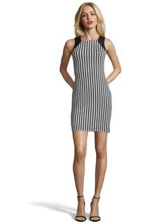 Marc New York black and white stretch ponte knit geo print dress