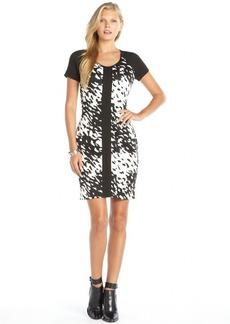 Marc New York black and white stretch 'Splash' print short sleeve dress