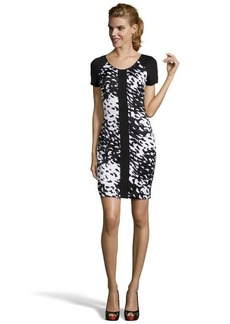 Marc New York black and white stretch 'Splash' printed short sleeve dress