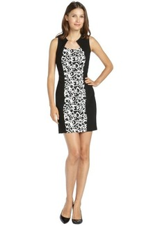 Marc New York black and white stretch woven printed panel dress