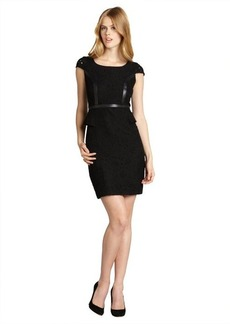 Marc New York black floral lace faux leather trimmed peplum dress