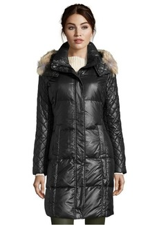 Marc New York black lacquer quilted 'Alana' fur trim hooded down coat