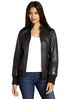 Marc New York black leather and quilted detail 'Nicki' bomber jacket