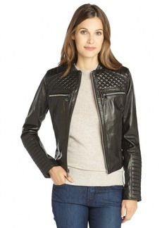 Marc New York black quilted leather zip pocket 'Grace' jacket