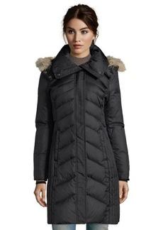 Marc New York black quilted 'Mercer' fur trim hooded 3/4-down coat