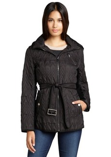 Marc New York black quilted rib trim optional hood belted 'Quinlee' jacket