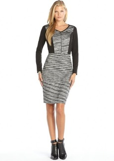 Marc New York black stretch knit space dyed colorblock dress