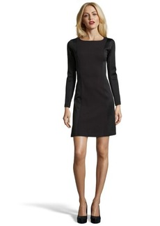 Marc New York black stretch 'Pique Ponte' quilted accent long sleeve dress
