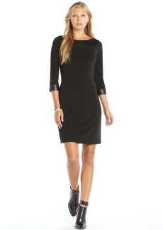 Marc New York black stretch woven faux leather trimmed dress