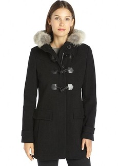 Marc New York black wool blend and coyote fur hooded toggle front 'Piper' coat