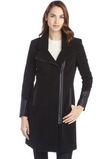 Marc New York black wool blend faux leather trimmed 'Patrice' coat