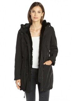 Marc New York black woven faux fur trim hooded 'Dee' anorak jacket