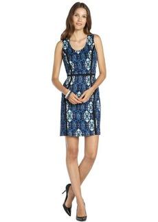 Marc New York blue stretch woven tile print scoopneck dress