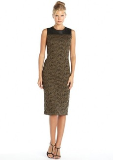 Marc New York brown and black web lace and faux leather trimmed midi dress