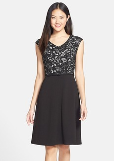 Marc New York by Andrew Marc Belted Knit Fit & Flare Dress