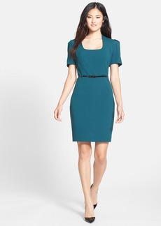 Marc New York by Andrew Marc Belted Stretch Sheath Dress