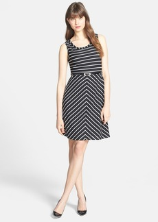 Marc New York by Andrew Marc Belted Stripe Fit & Flare Dress