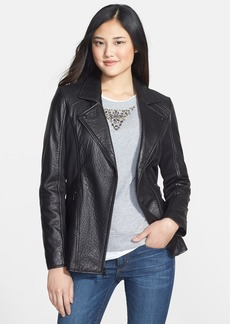 Marc New York by Andrew Marc Elongated Textured Leather & Knit Moto Jacket
