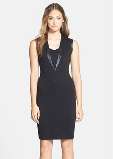 Marc New York by Andrew Marc Faux Leather & Ponte Sheath Dress