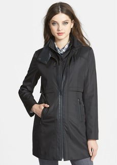 Marc New York Faux Leather Trim Rain Jacket with Removable Bib (Online Only)