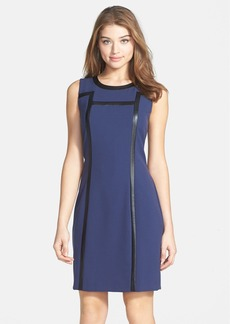 Marc New York by Andrew Marc Faux Leather Trim Sheath Dress