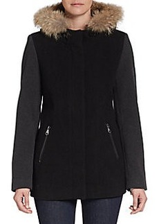 MARC NEW YORK by ANDREW MARC Fur-Trimmed Wool Colorblock Jacket