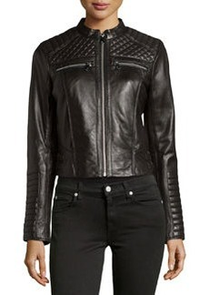 Marc New York by Andrew Marc Grace Quilted Leather Jacket, Black