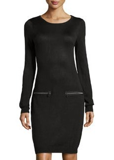 Marc New York by Andrew Marc Knit Pocket-Detail Sweaterdress, Black