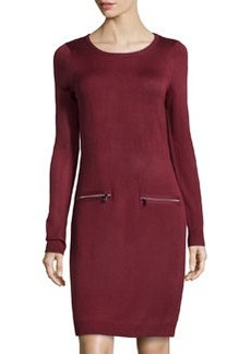 Marc New York by Andrew Marc Knit Pocket-Detail Sweaterdress, Maroon