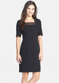 Marc New York by Andrew Marc Mesh Inset Crepe Sheath Dress