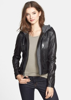 Marc New York by Andrew Marc 'Mila' Knit Hood Leather Jacket