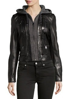 Marc New York by Andrew Marc Mila Knit-Lined Leather Jacket, Black