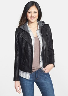 Marc New York by Andrew Marc Mixed Media Leather Jacket with Removable Hooded Liner