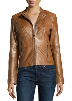 Marc New York by Andrew Marc Molly Seamed Leather Jacket, Nutmeg