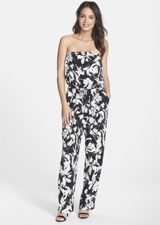 Marc New York by Andrew Marc Print Strapless Blouson Jumpsuit